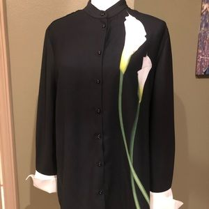Black lily button up blouse
